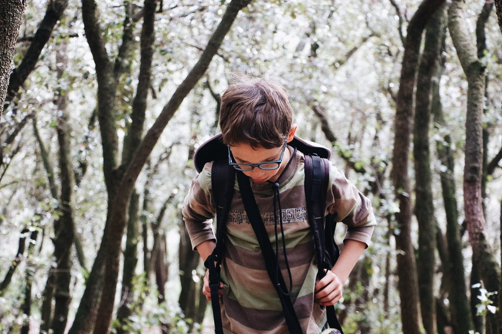 a boy on an outdoor learning expedition