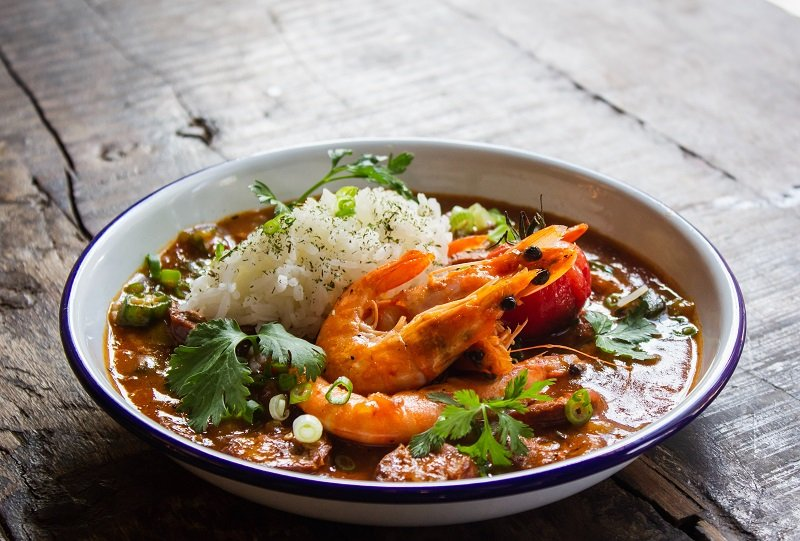 a prawn curry with rice