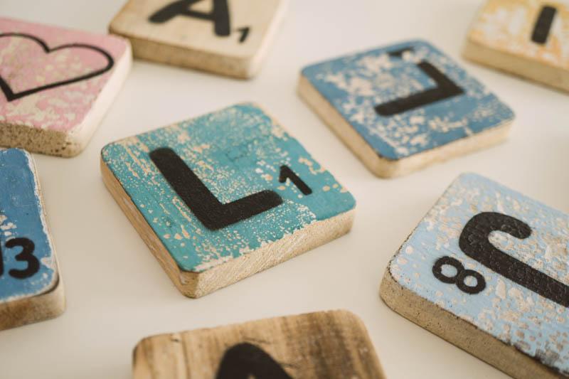 scrabble letters in a homeschool lesson