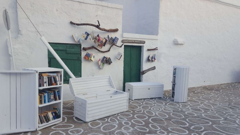 the quiet Greek island of kimolos - a seating area outside someones house