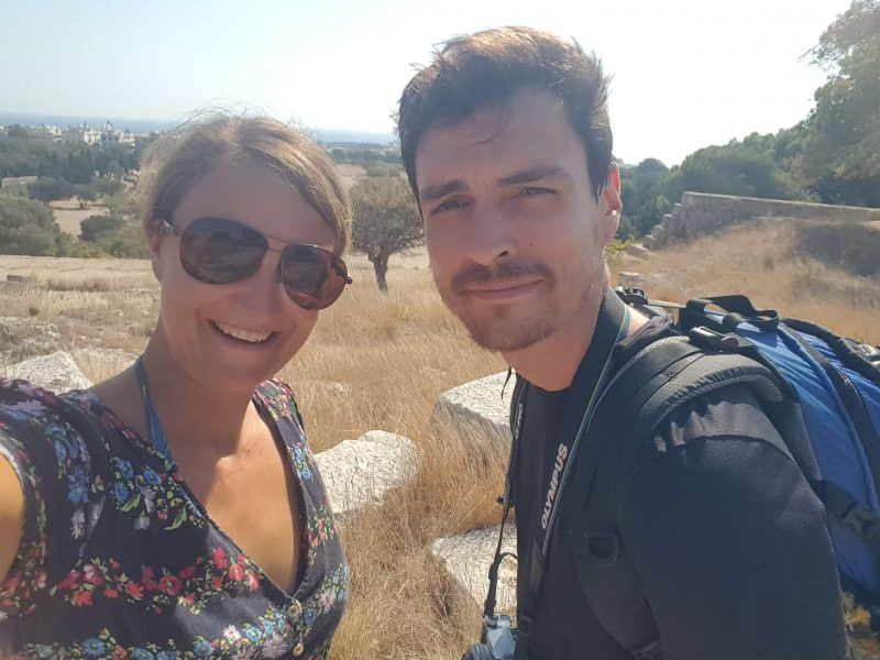 a sister and brother exploring rhodes in greece