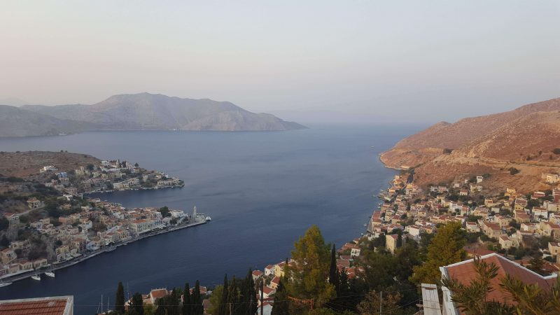the view of symi town in greece