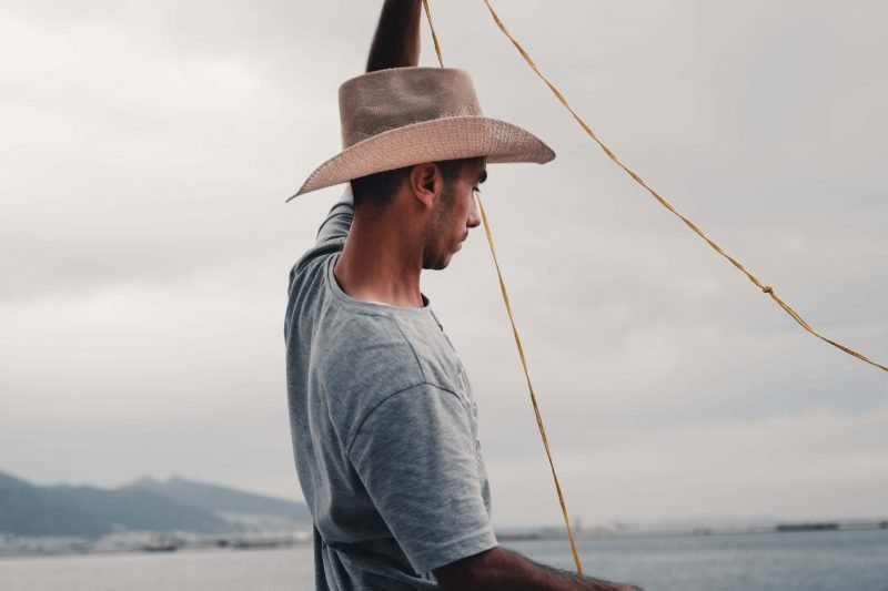 a man wearing the best sailing hat