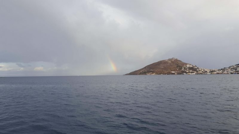 a rainbow spotted sailing greece in october