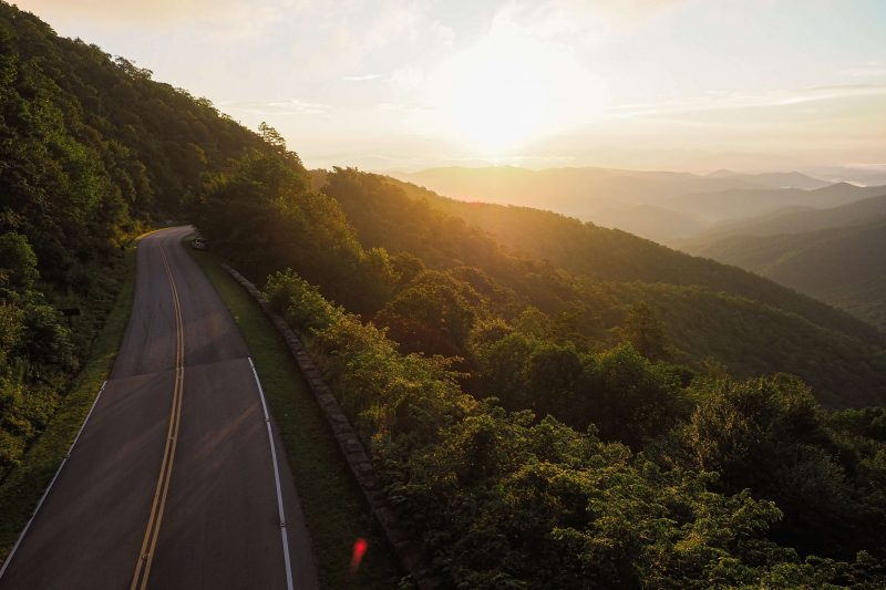 the blueridge parkway at sunset