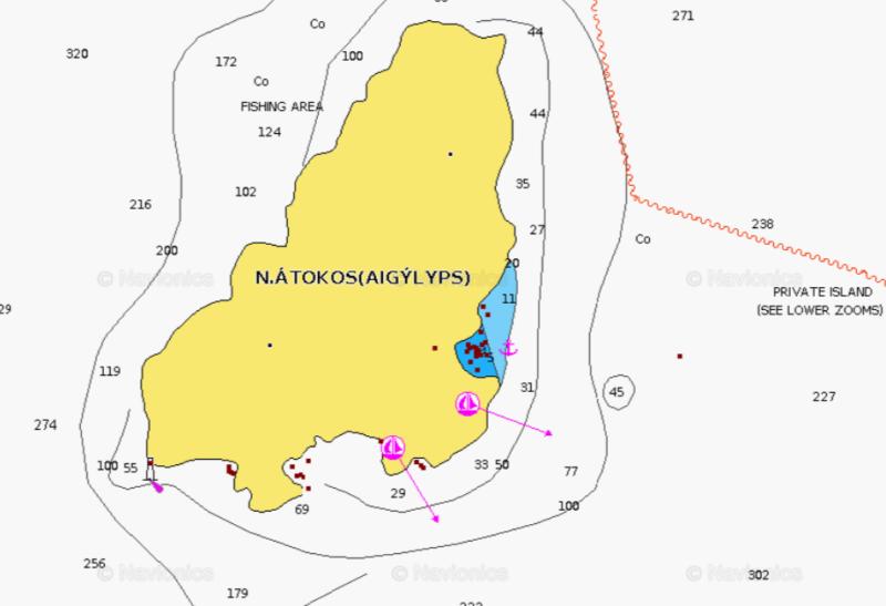 a map of atokos anchorage in greece