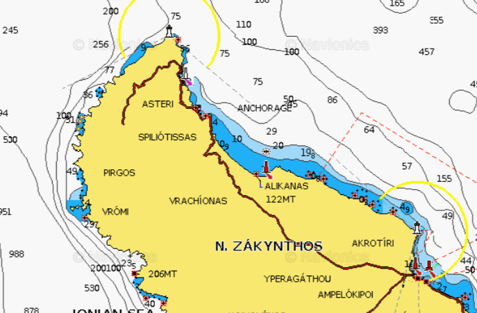 a map of the anchorage for the blue caves in greece, one of greece's top 10 anchorages