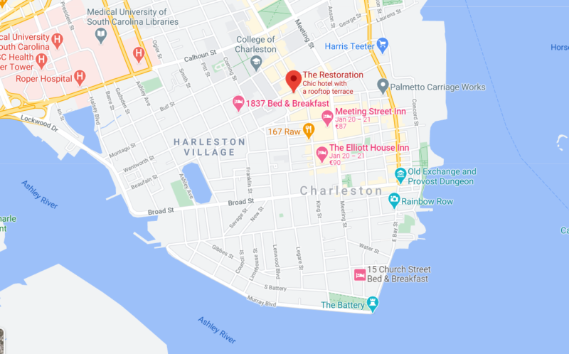 a map showing one of the most romantic places to stay in charleston sc