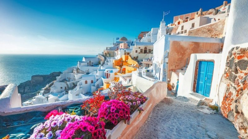 the view of white washed houses in greece