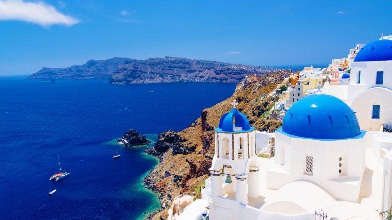 santorini views of the church and sea