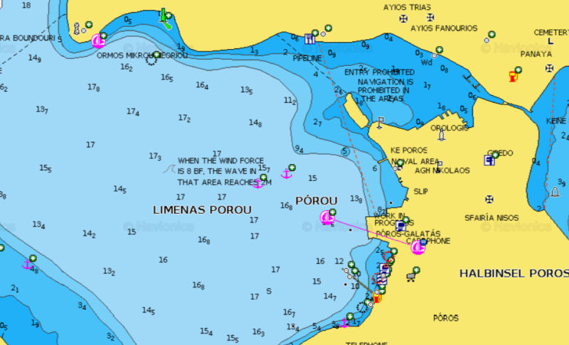 a map of poros anchorage in greece