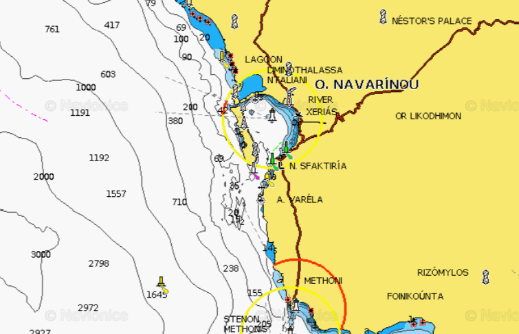a map of pylos anchorage, one of greece's top 10 anchorages