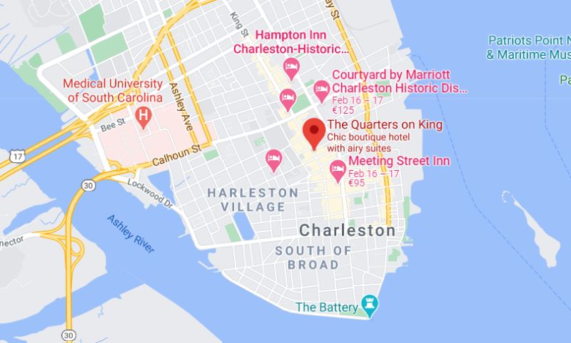 a map of the quarters in charleston