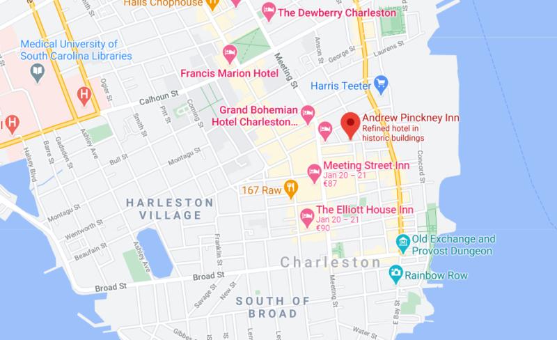 map of the Andrew Pinckney Inn in Charleston