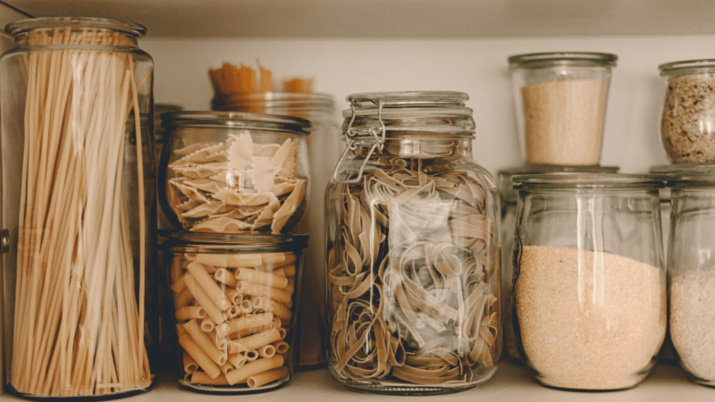 making use of existing sailboat storage with jars of food