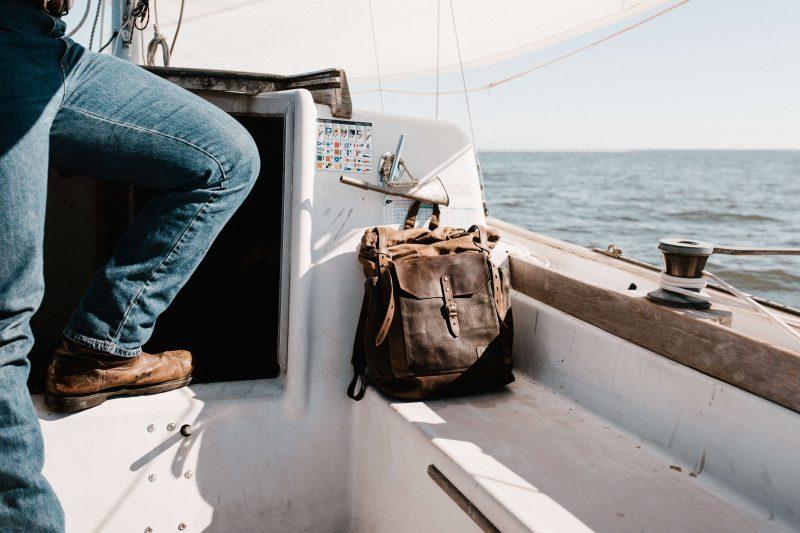 sailing dry bag on a sailboat