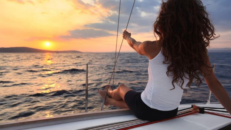 a woman sailing in Greece