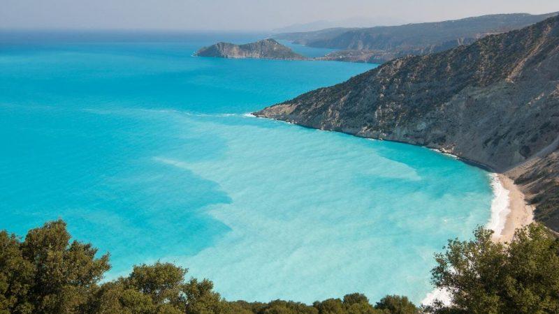 a beautiful beach on a greek island