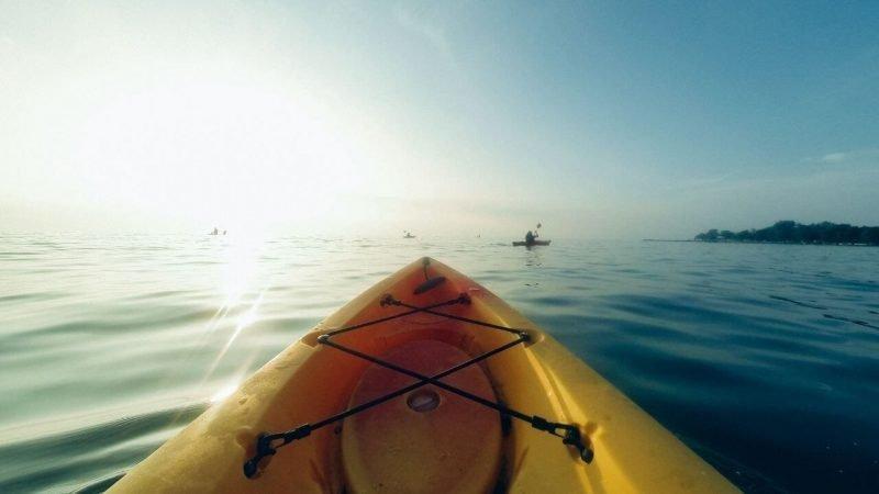 a canoe in the sea