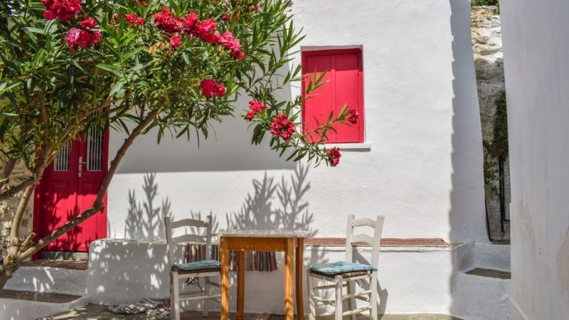 An outdoor seating area on the greek island of naxos